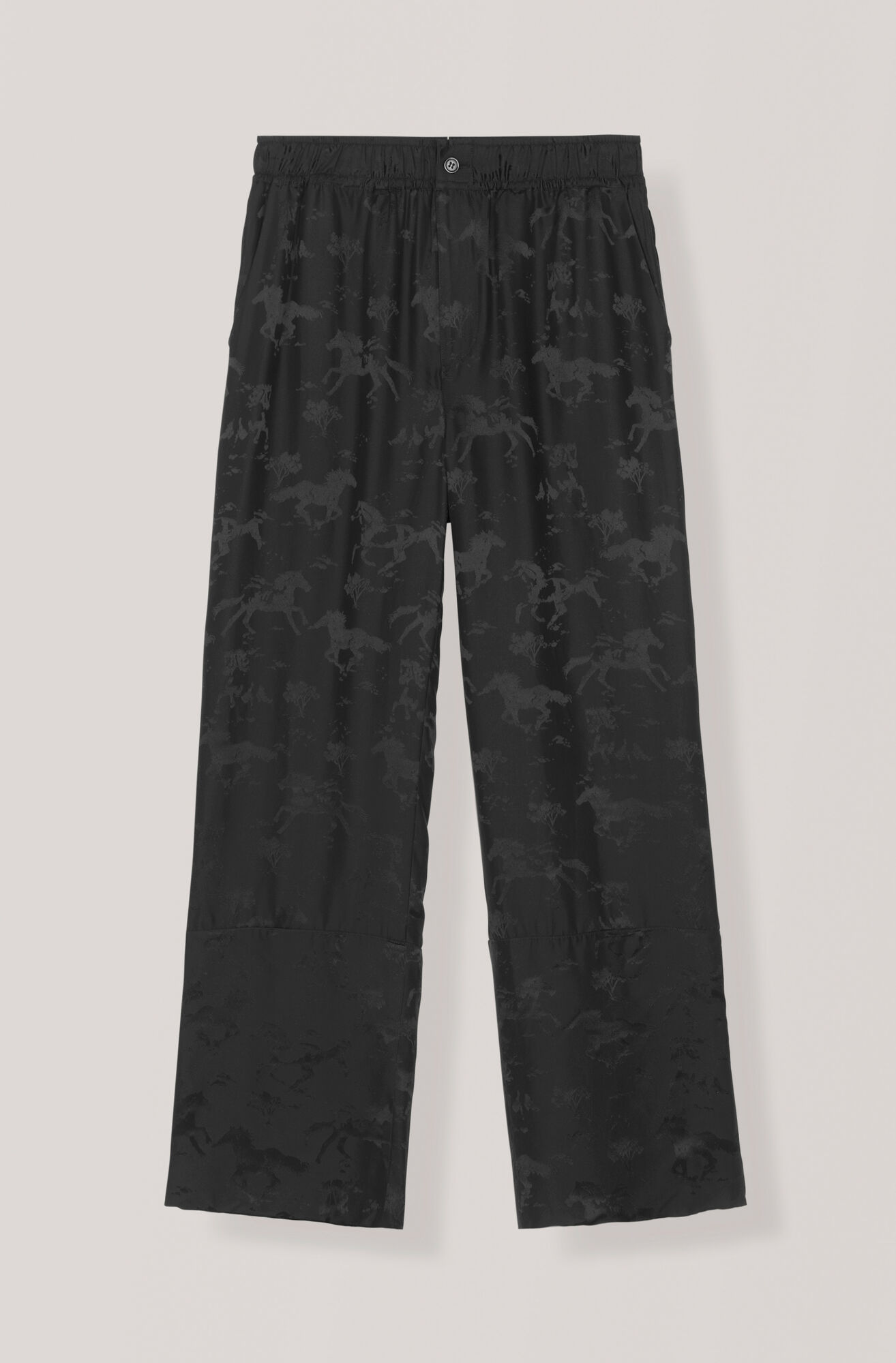 Silk Jacquard Pants, Black, hi-res