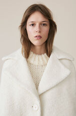 Boucle Wool Oversized Coat, Egret, hi-res