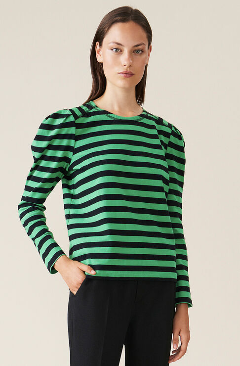 Ganni Cottons STRIPED COTTON JERSEY PUFF SLEEVE PULLOVER