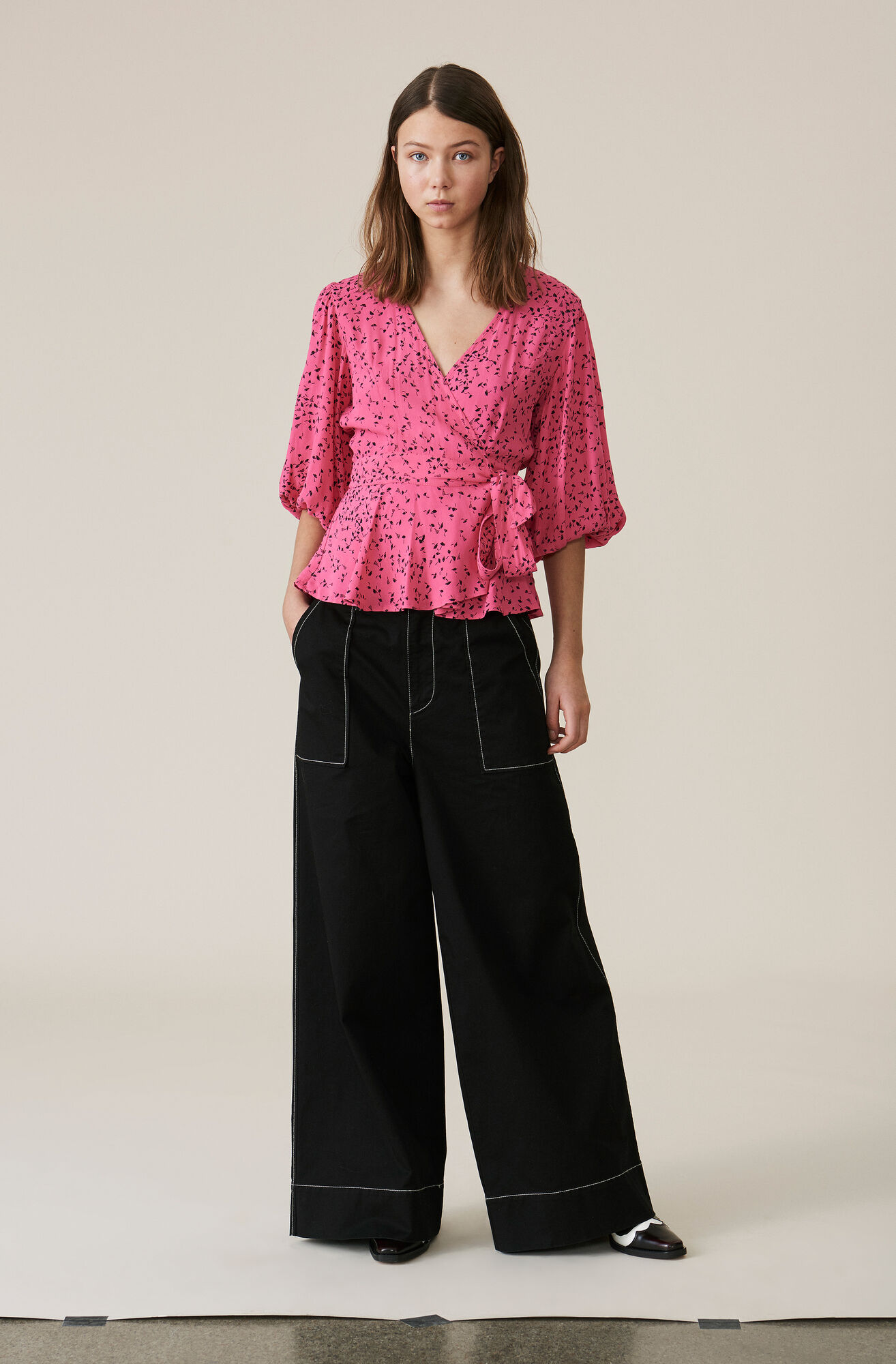 Barra Crepe Wrap Blouse, Hot Pink, hi-res