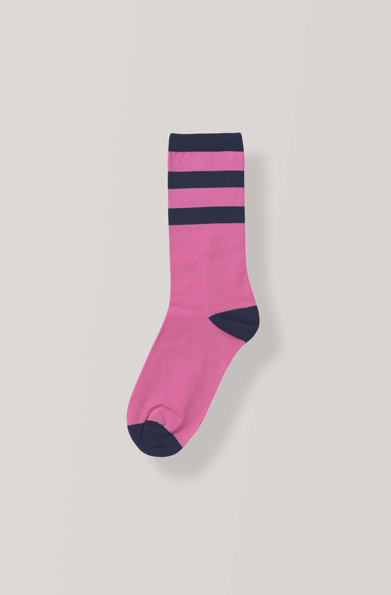 Stripes Ankelsokker, Hot Pink, hi-res