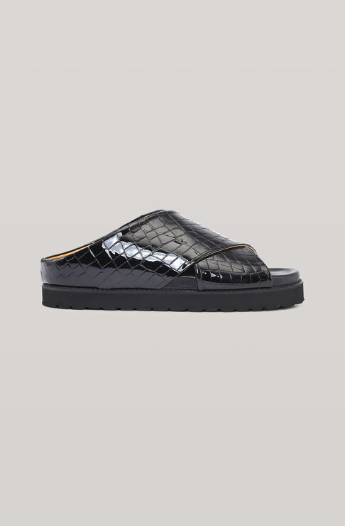 Ganni Leathers BELLY CROC MID CROSSOVER SANDAL