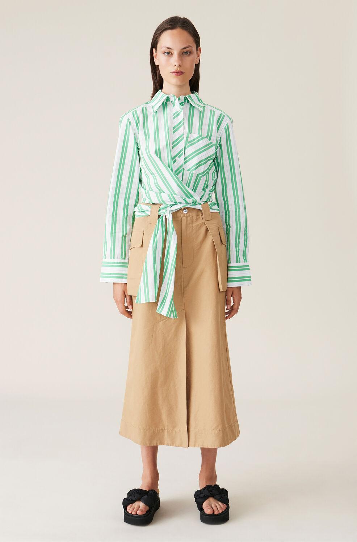 Ganni Cotton Canvas Skirt,Tiger