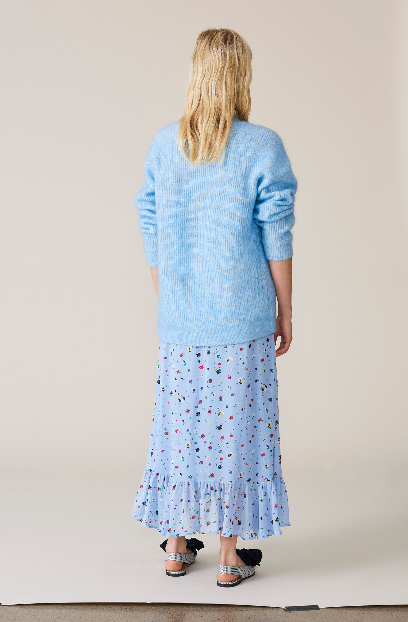 Dainty Georgette Wrap Skirt, Serenity Blue, hi-res