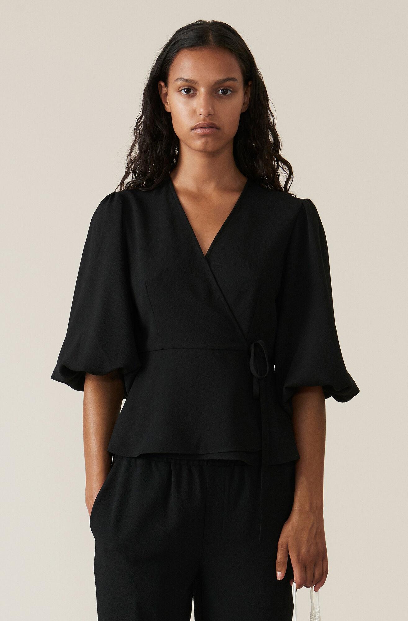 Heavy Crepe Wrap Bluse, Black, hi-res