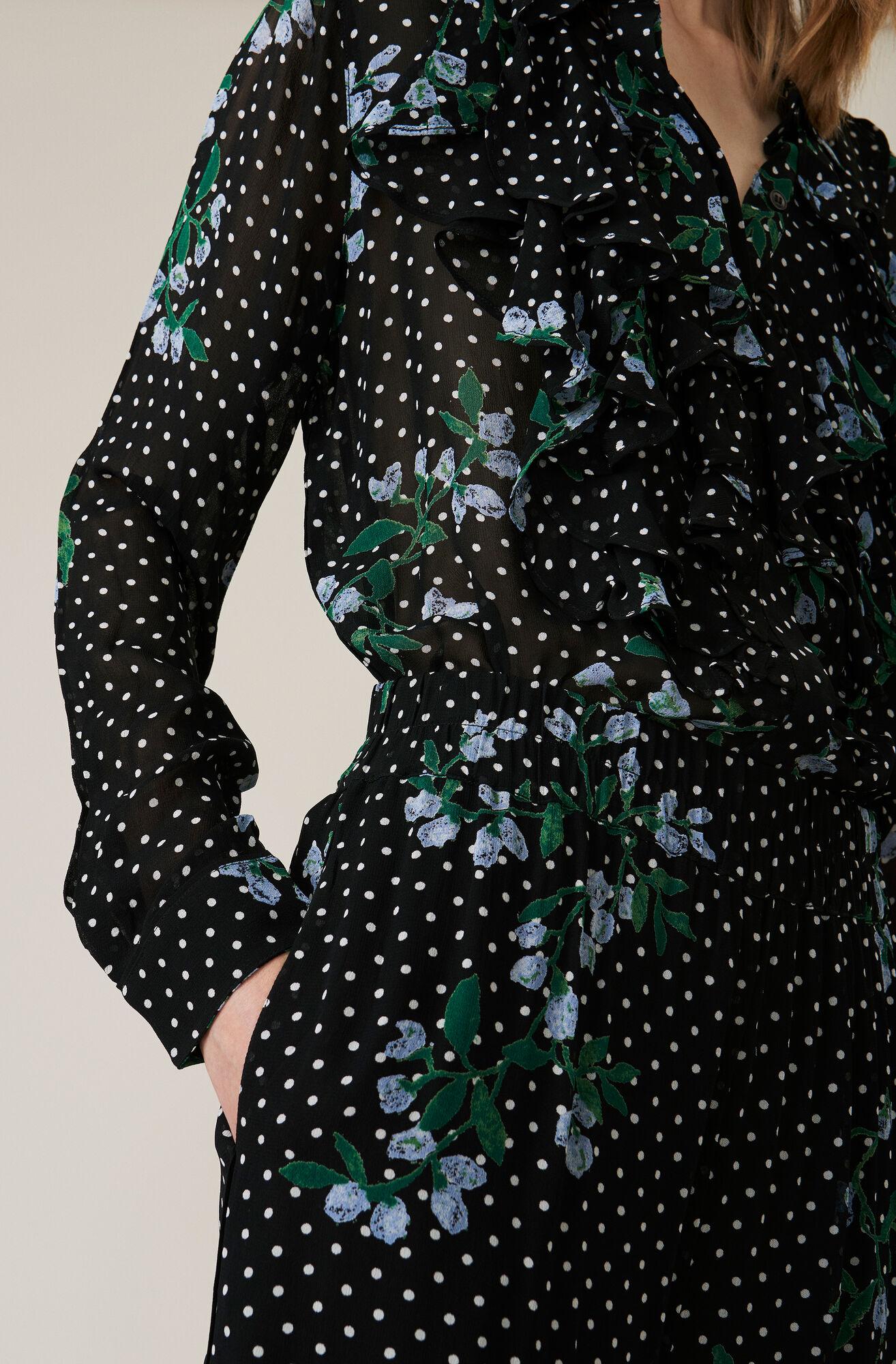 Rometty Georgette Hemd, Black, hi-res