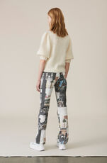 Printed Denim Slit Pants, Multicolour, hi-res