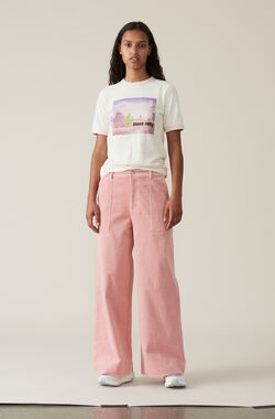 Stretch Corduroy Wide Pants, Silver Pink, hi-res