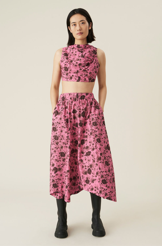 Ganni Cotton Poplin Wavy Midi Skirt,Shocking Pink