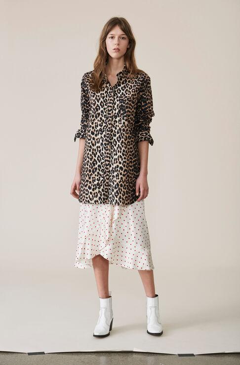 Printed Cotton Shirt, Leopard, hi-res