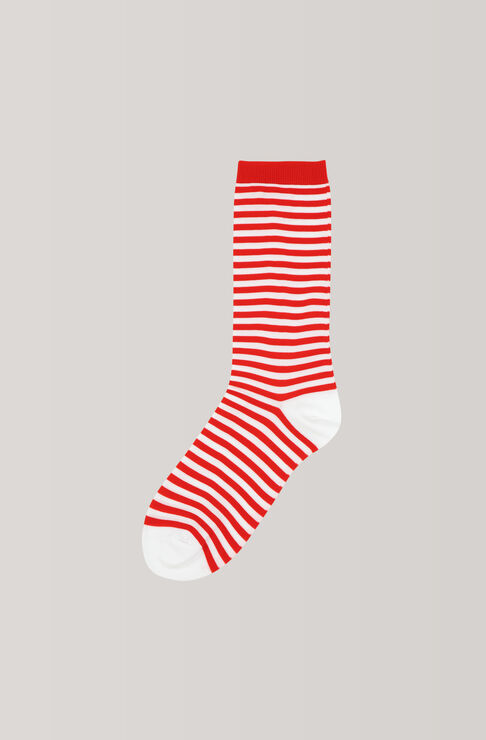 Stripes Ankle Socks, Fiery Red, hi-res