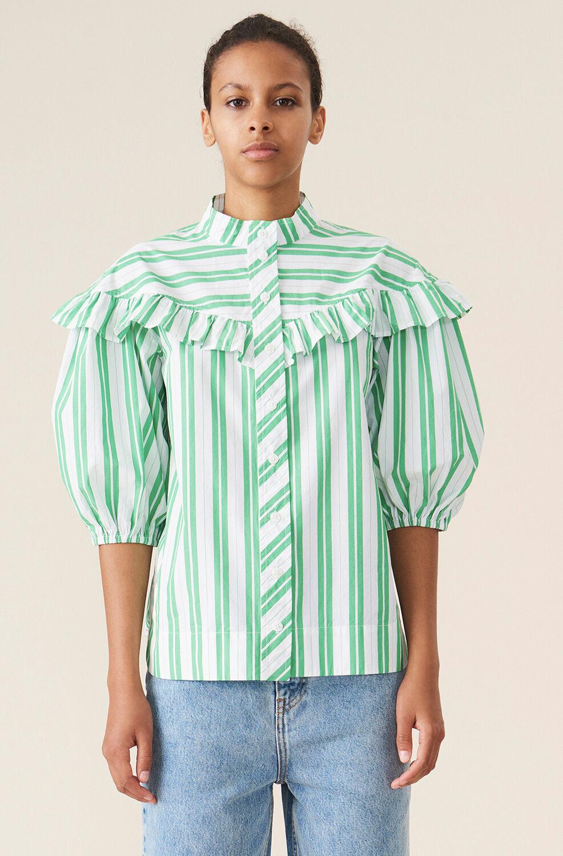 가니 셔츠 Ganni Stripe Cotton Frill Shirt,Kelly Green