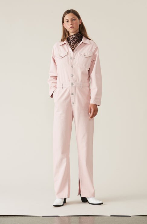 Washed Denim Jumpsuit, Silver Pink Overdyed, hi-res