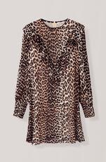 Printed Georgette Minikleid, Leopard, hi-res