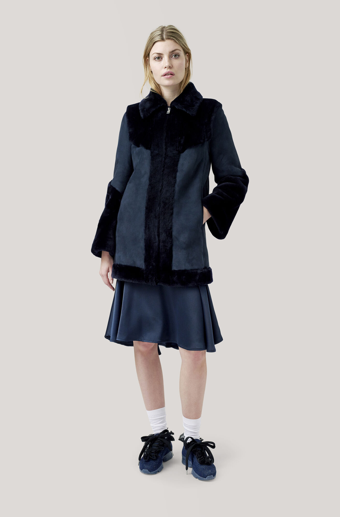 Lexington Shearling Long Jacket, Total Eclipse, hi-res