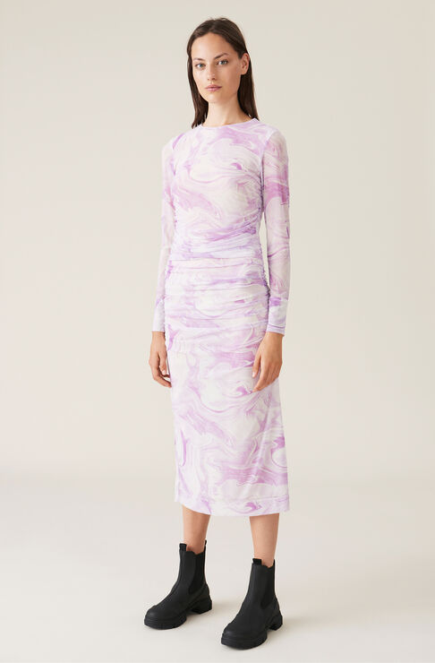 Ganni Dresses PRINTED MESH DRESS