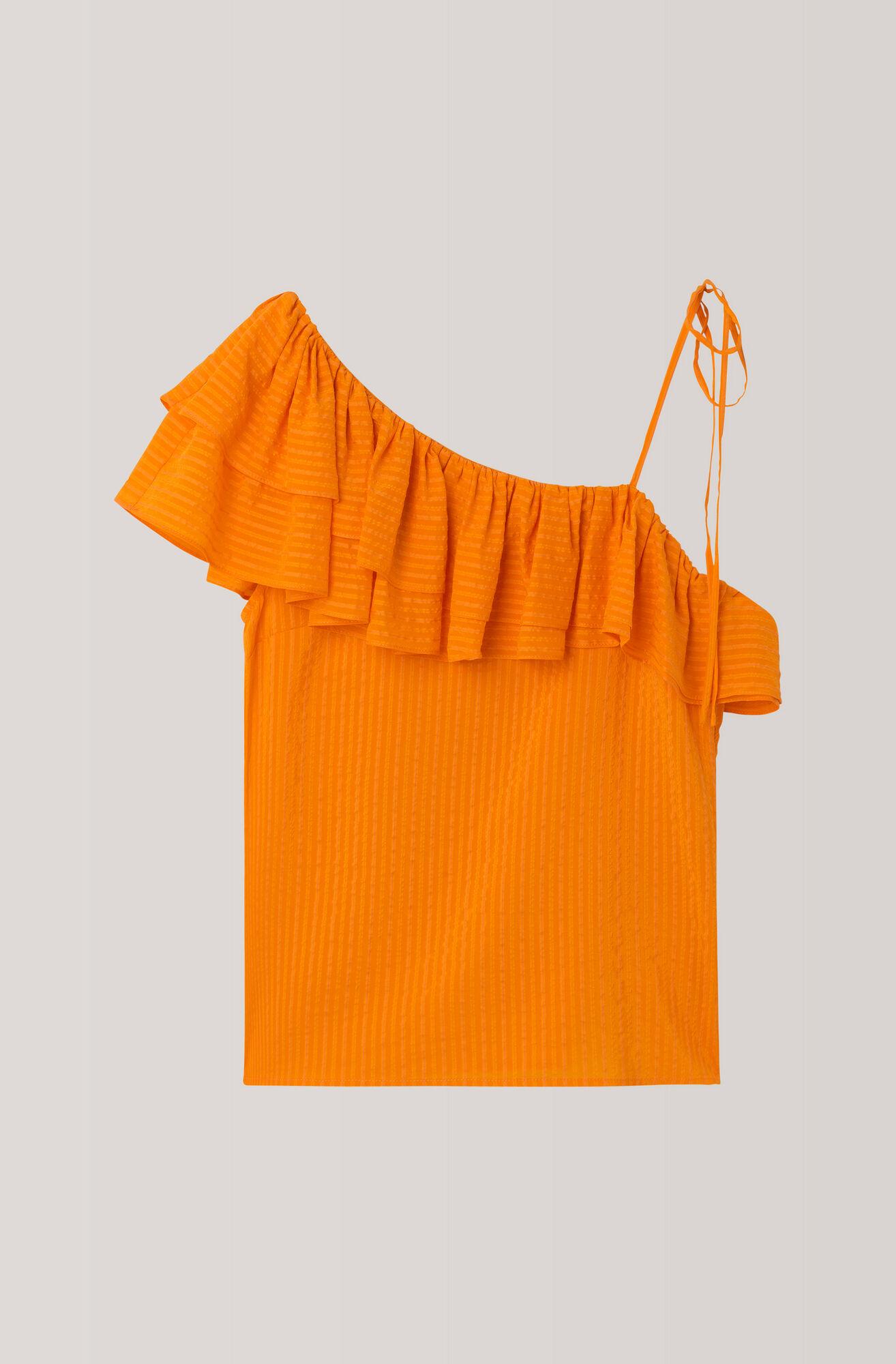 Wilkie Seersucker Top, Turmeric Orange, hi-res