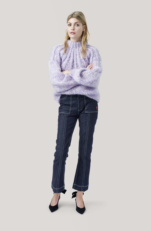 The Julliard Mohair Open Back Pullover, Pastel Lilac, hi-res