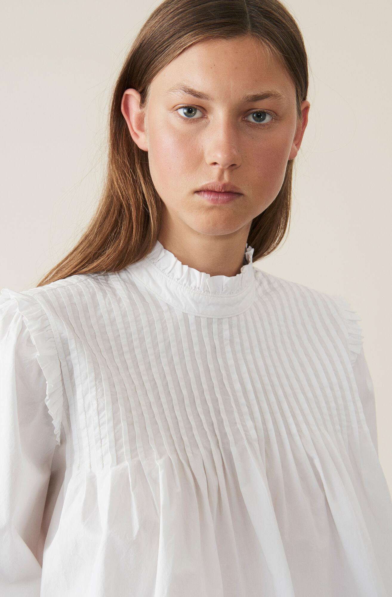 Plain Cotton Poplin Bluse, Bright White, hi-res