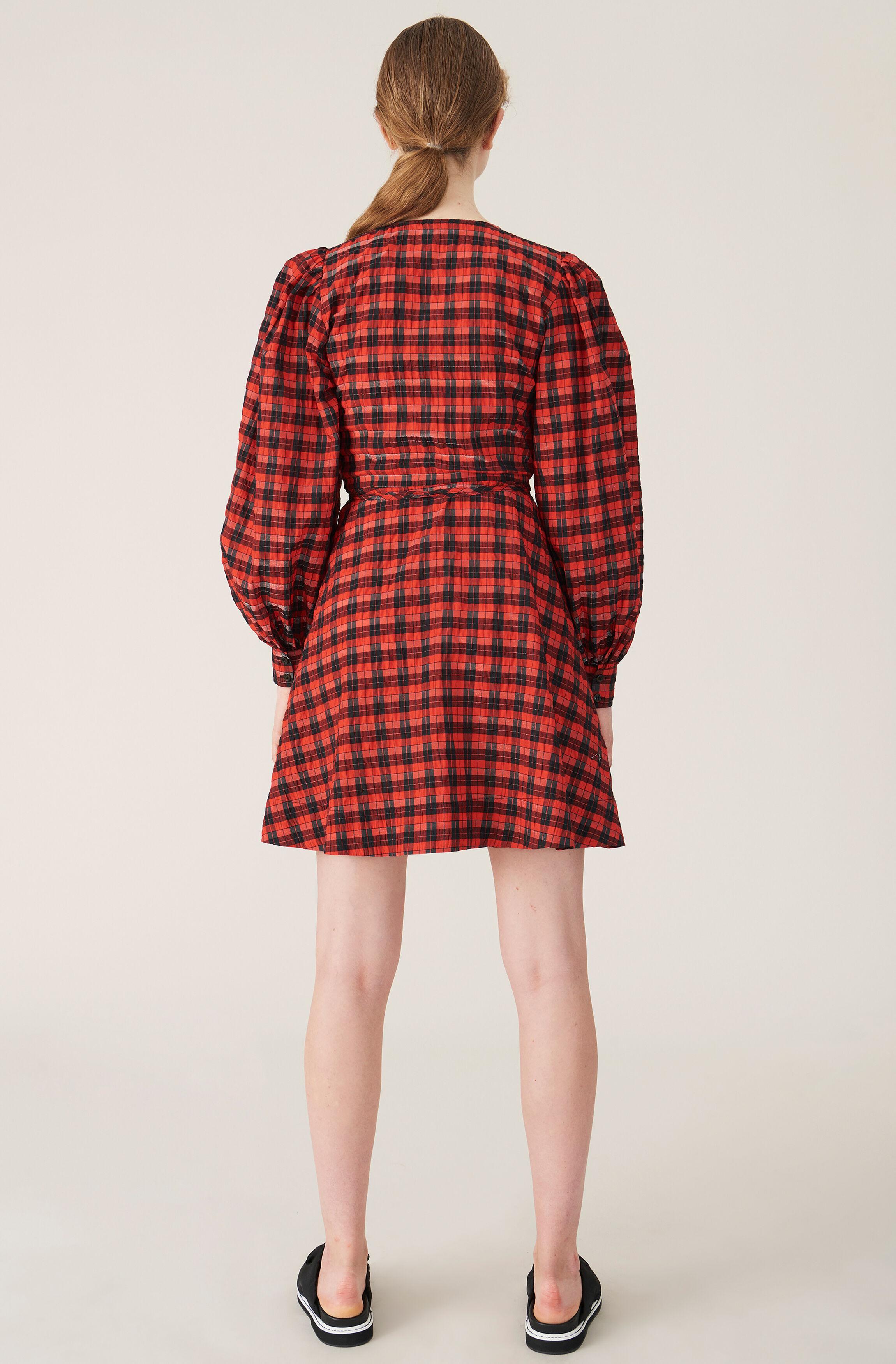 ganni seersucker check maxi dress red