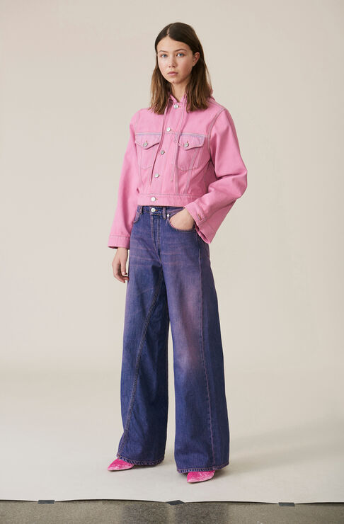 Denim Wide Hose, Hot Pink On Blue, hi-res