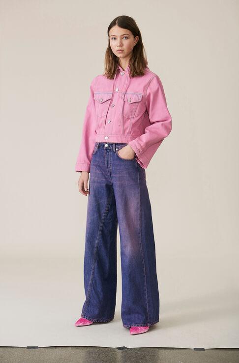 Denim Wide Pants, Hot Pink On Blue, hi-res