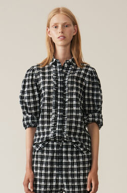 Seersucker Check Shirt, Black, hi-res