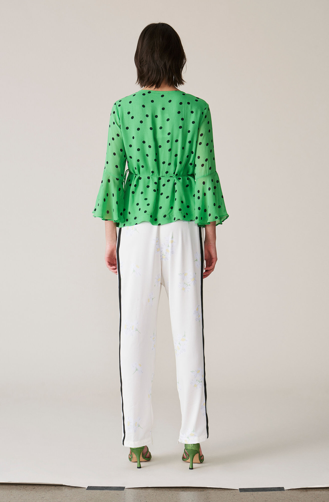 Dainty Georgette Wrap Top, Classic Green, hi-res