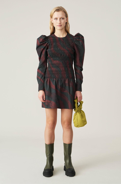 가니 퍼프 소매 원피스 Ganni Organic Cotton Poplin Shirred Mini Dress,Merlot