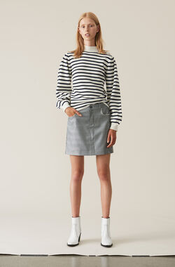 Silk Wool Suiting Mini Skirt, Paloma Melange, hi-res