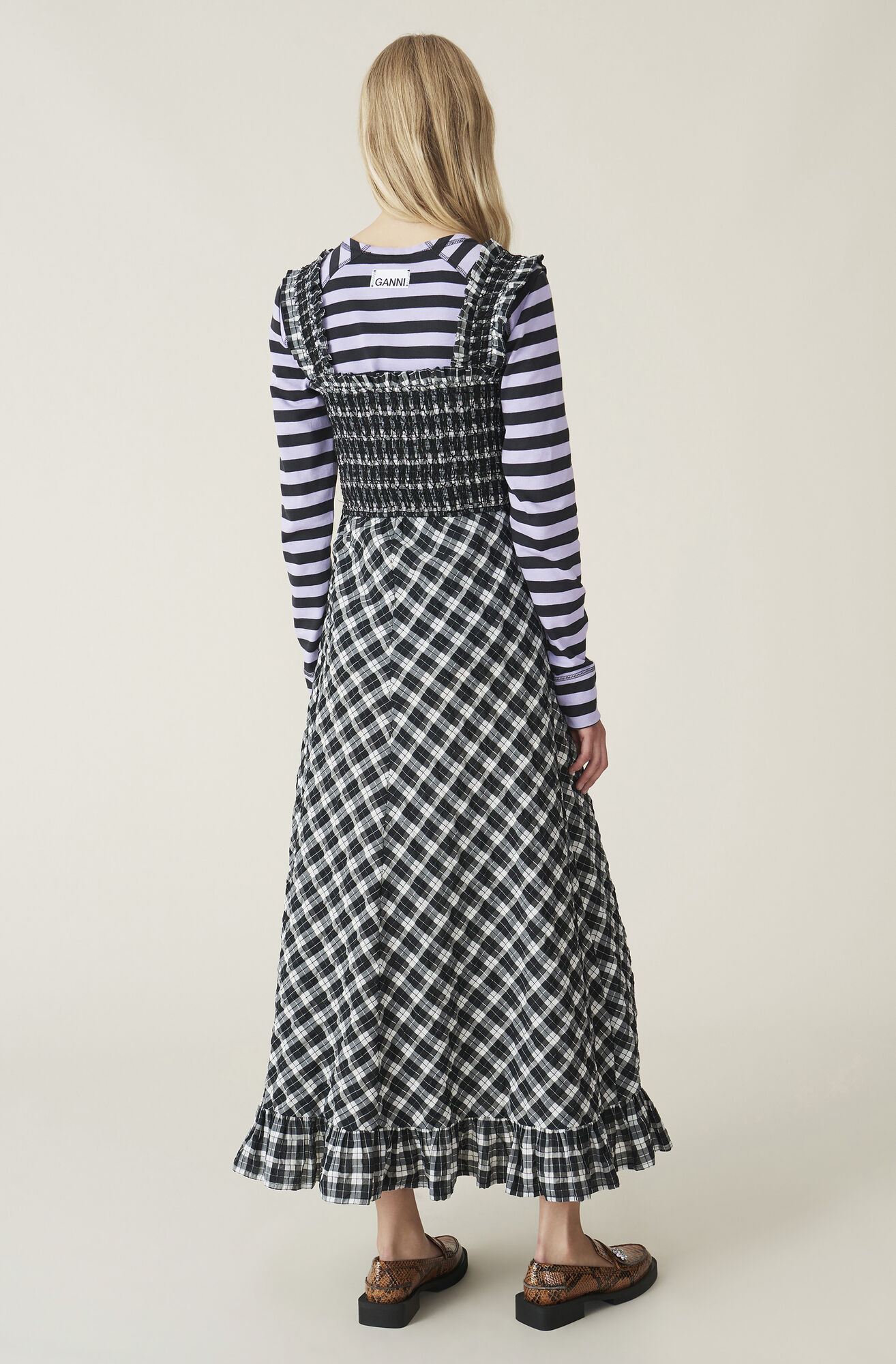 Ganni Seersucker Check Maxi Dress 1019 00 Dkk Shop Your New