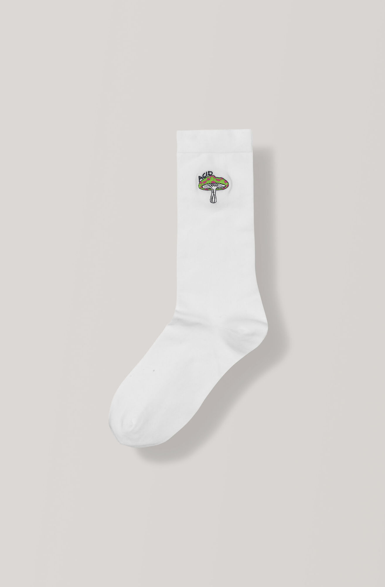 Classon Embroidery Ankle Socks, Mushroom, Vanilla Ice, hi-res