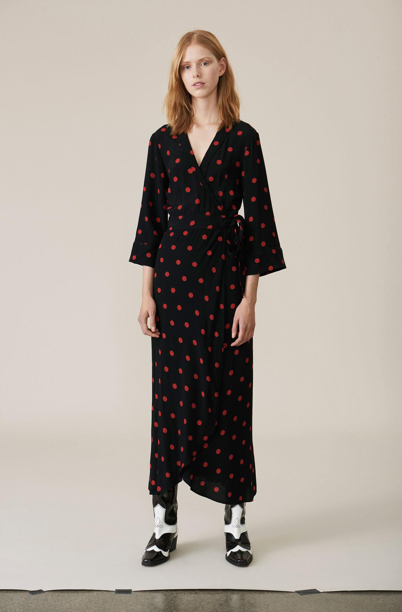 Barra Crepe Wrap Dress, Black, hi-res