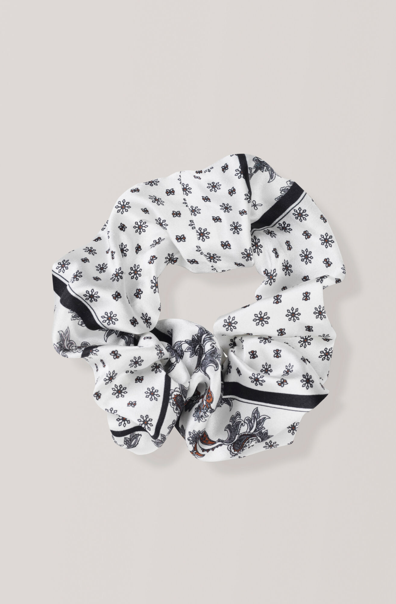 Silk Stretch Satin Scrunchie, Egret, hi-res