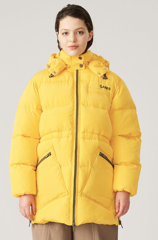 가니 오버사이즈 패딩 자켓 Ganni Tech Puffer Oversized Puffer Midi Jacket,Spectra Yellow