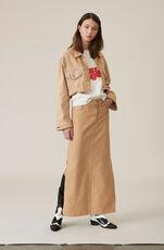 Denim Maxi Skirt, Hazelnut Overdye, hi-res