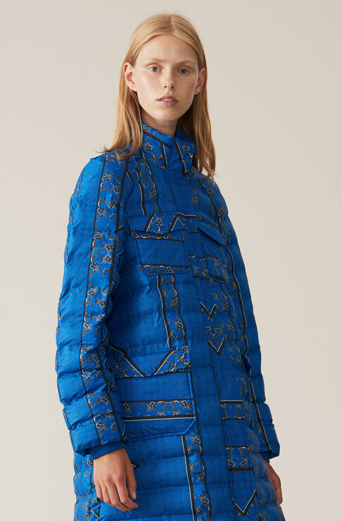Printed Tech Jacket, Lapis Blue, hi-res