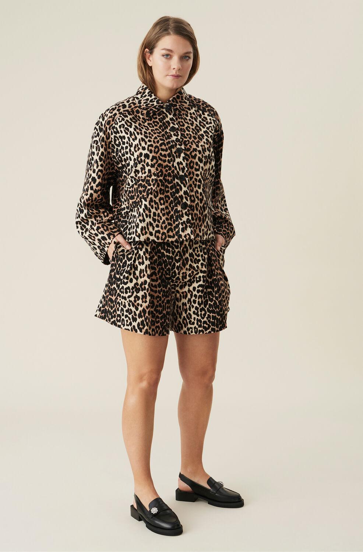 Ganni Low-Rise Linen Shorts,Leopard
