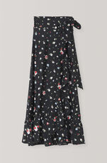 Heavy Jersey Wrap Skirt, Black, hi-res