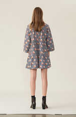 Printed Cotton Poplin Mini Dress, Black, hi-res