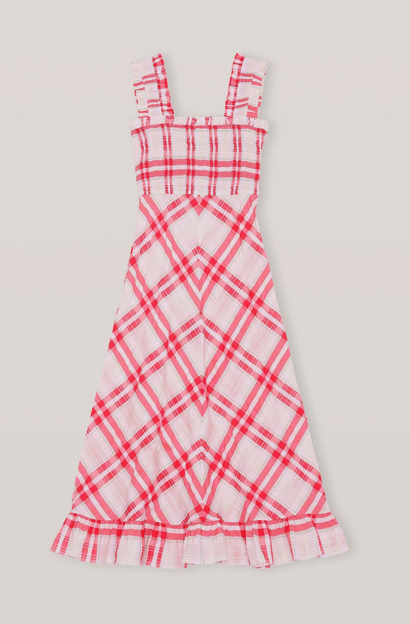 Ganni Seersucker Check Maxi Dress 215 00 Gbp Shop Your New Seersucker Check Maxi Dress At Ganni Com