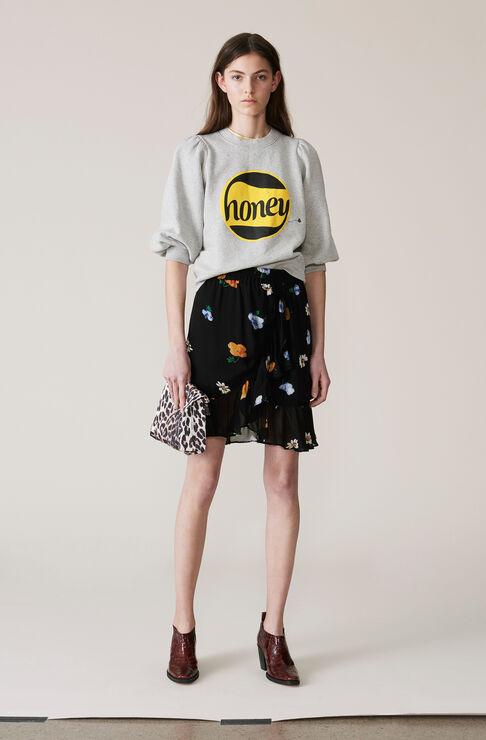 Dainty Georgette Mini Skirt, Black, hi-res
