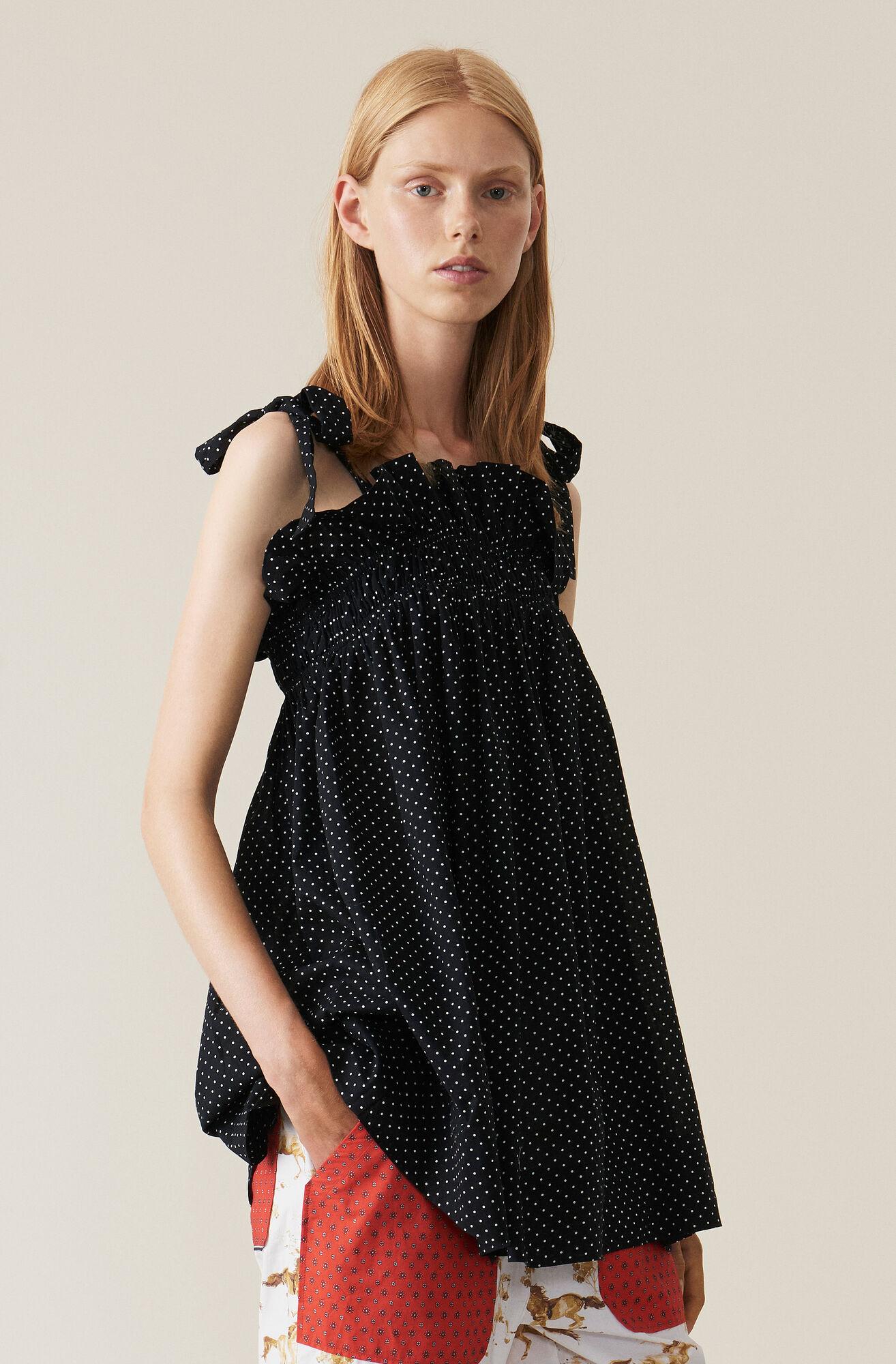 Cotton Coverups Mini Dress, Black, hi-res