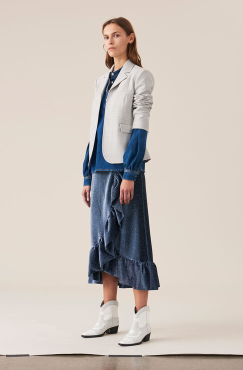 Lurex Jersey Wrap Skirt, Serenity Blue, hi-res