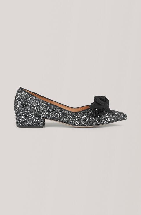 Glitter Flat Ballerina, Dark Silver, hi-res