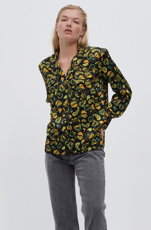 가니 셔츠 블라우스 Ganni EcoVero Satin Shirt,Black