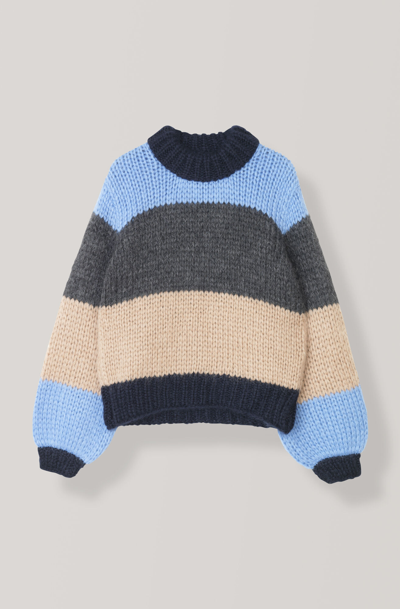 Hand Knit Wool Striped Pullover, Block Colour, hi-res