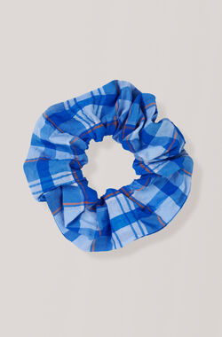 Seersucker Check Scrunchie, Lapis Blue, hi-res