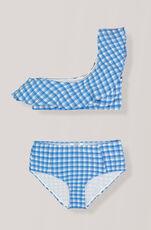 Seersucker Swimwear One-shoulder Bikini, Lapis Blue, hi-res