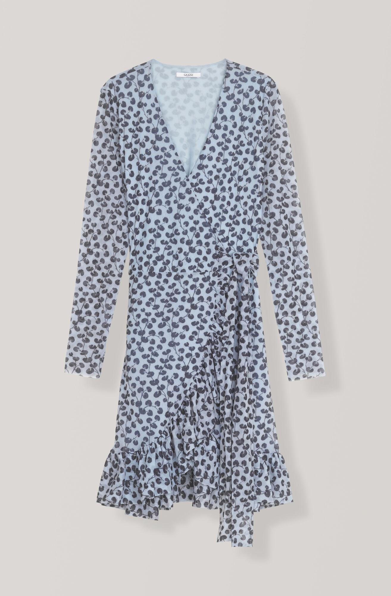 Printed Mesh Wrap Dress, Serenity Blue, hi-res